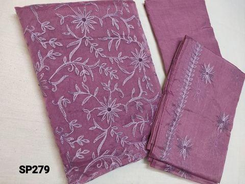 CODE SP279 : Designer Sober Purplish Pink Organza Unstitched Salwar material(thin fabric requires lining) with Heavy thread embroidery on front side, Santoon bottom, Organza dupatta with embroidery work