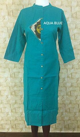 Turquoise Blue Cotton kurta with kalamkari patch,mandarin collar,three fourth sleeves