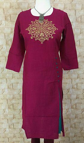 Pink Silk cotton Kurta with zari embroidery on yoke,three fourth sleeves
