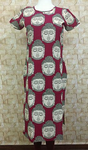 Budha Printed Pink Cotton Kurta with short sleeves