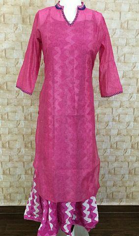 Double Layered Kurta,Pink chanderi kurta with bead and thread work,printed sleeveless rayon inner