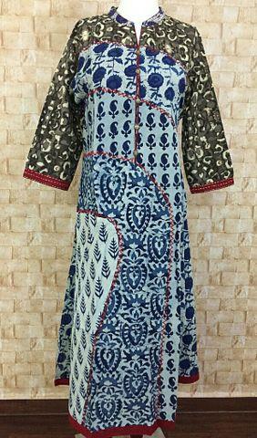Blue Dabu Printed A-Line kurta,mandarin collar,three fourth sleeves