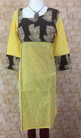 Light Yellow Cotton Kurta with Kalamkari yoke,three fourth sleeves