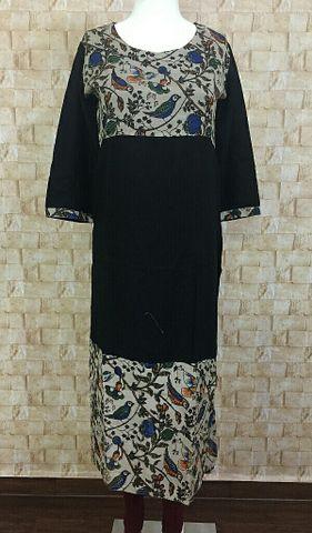 Black Rayon long kurta with kalamkari silk yoke and daman,three fourth sleeves