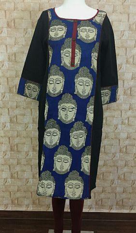 Black Cotton top with kalamkari panel,three fourth sleeves