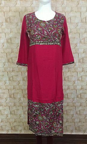 Pink Rayon long kurta with kalamkari silk yoke and daman,three fourth sleeves