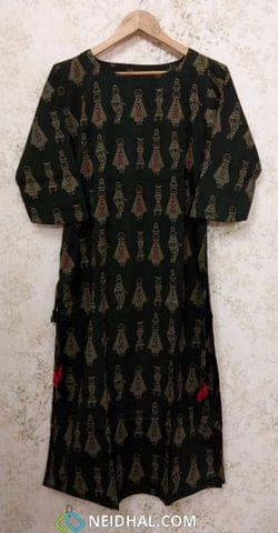 Doll Printed Dark Green Cotton Stylish Kurti with kantha stitch and french knot work (Refer Size chart, 2nd pic before ordering, No Refund, No Return, No exchange, No cancellation), Round Neck, Height 45, 3/4 sleeves, one side pocket, side slits, rope tassles at the slits