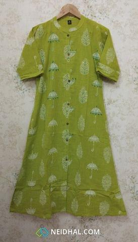 Umberlla Printed Green Slub Cotton Kurti with thread and sequence work, Front open placket(2 buttons) (Refer Size chart, 2nd pic before ordering, No Refund, No Return, No exchange, No cancellation), Mandarin Collar, Height 44, 3/4 sleeves with flaps, front and side slits.