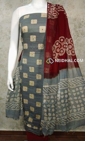 Premium Batik Printed Grey Cotton unstitched salwar material with foil mirrorwork and thread work on front side, plain back side, marron cotton bottom, dual color chiffon dupatta.(requires taping)