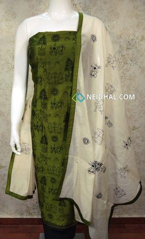Green Silk Cotton unstitched Salwar material with embroidery work on front side , plain back side, black cotton bottom, embroidery work on silk cotton dupatta with tapings.