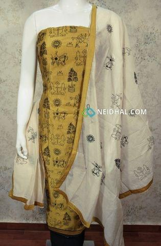 Yellow Silk Cotton unstitched Salwar material withembroidery work on front side , plain back side, black cotton bottom, embroidery work on silk cotton dupatta with tapings.