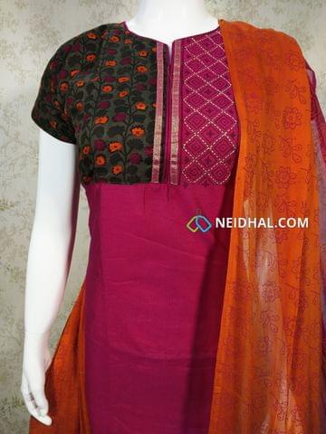 Designer Pink Dupian Silk Unstitched Salwar material with neck patten, floral printed and zari thread work on yoke, plain back side, floral printed cotton bottom,  Printed dual color chiffon dupatta with tapings.
