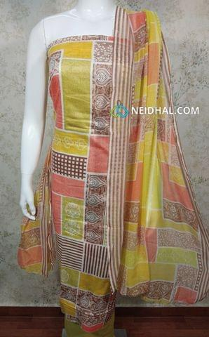 Printed Multicolor soft cotton unstitched Salwar material, mehandhi yellow cotton bottom, printed chiffon dupatta.(requires taping)