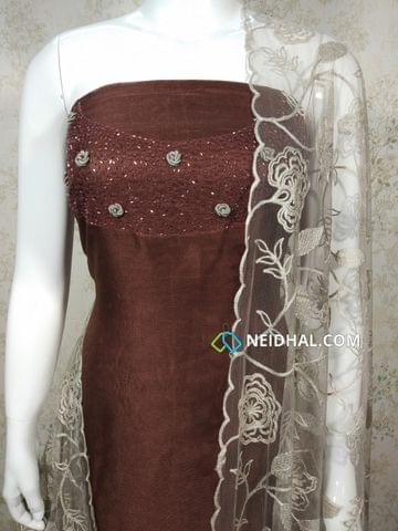 Designer Chocolate Brown Modal (Super Net) Fabric unstitched salwar material(requires lining) with heavy pipe work and thread work on yoke, Silver Ash silk cotton bottom, Thread work on super net dupatta with lace taping.