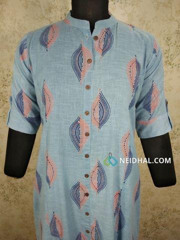 Printed Blue Slub Cotton kurti with front open placket(2 buttons can be unbuttoned),thread and sequence work, (Refer Size chart, 3rd pic before ordering, No Refund, No Return, No exchange, No cancellation), Mandarin Collar, Height 44, Elbow Sleeves with flaps, front and slide slits, one side pocket.
