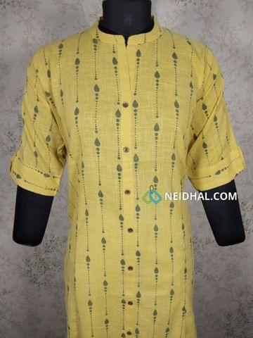 Printed Yellow Slub Cotton kurti with front open placket, (Refer Size chart, 3rd pic before ordering, No Refund, No Return, No exchange, No cancellation), Mandarin Collar, Height 45, Elbow Sleeves with flaps, front and slide slits, one side pocket.