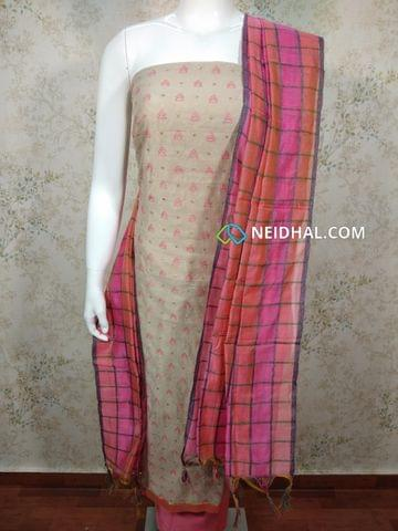 Light Ash Silk cotton unstitched salwar material(requires lining) with Thread embroidery work on front side, plain back, Pink silk cotton bottom, multi color silk cotton dupatta(requires taping)