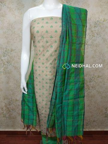 Light Ash Silk cotton unstitched salwar material(requires lining) with Thread embroidery work on front side, plain back,Green silk cotton bottom, multi color silk cotton dupatta(requires taping)