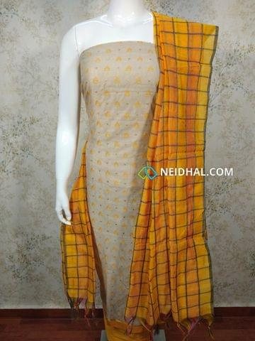 Light Ash Silk cotton unstitched salwar material(requires lining) with Thread embroidery work on front side, plain back,Yellow silk cotton bottom, multi color silk cotton dupatta(requires taping)