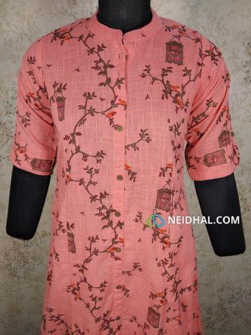 Printed Pink Slub Cotton kurti with front open placket(2 buttons can be unbuttoned), (Refer Size chart, 3rd pic before ordering, No Refund, No Return, No exchange, No cancellation), Mandarin Collar, Height 44, Elbow Sleeves with flaps, front and slide slits, one side pocket.