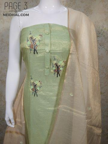 PAGE 3: Designer Light Sea Green Tissue Silk unstitched Salwar material(requires lining) with bead and thread hand work on yoke, Bead hand work on daman, plain back side, light sea green Taffeta bottom, Thread work on Tissue silk dupatta with zari weaving work and tassles