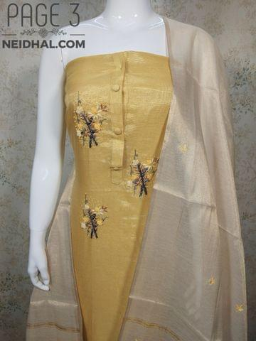PAGE 3: Designer Yellow Tissue Silk unstitched Salwar material(requires lining) with bead and thread hand work on yoke, Bead hand work on daman, plain back side, yellow Taffeta bottom, Thread work on Tissue silk dupatta with zari weaving work and tassles