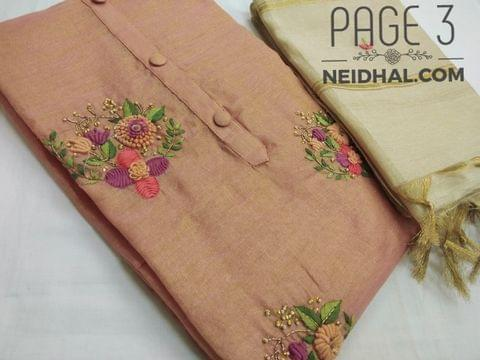 PAGE 3: Designer Peach Tissue Silk unstitched Salwar material(requires lining) with thread and bead work on front side, plain back side, peach taffeta bottom, Embroidery work on Tissue silk dupatta with  tassles.