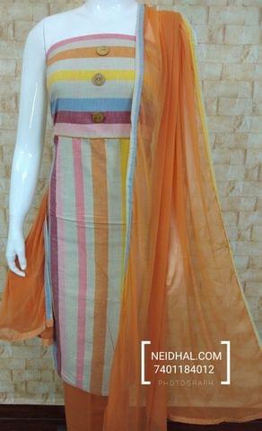 Multicolor Soft Handloom Cotton unstitched Salwar material, cotton bottom, Peachish Orange Chiffon dupatta with taping
