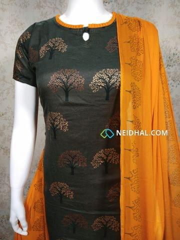 Designer Greenish Grey Cotton unstitched salwar material with neck design,  golden prints, yellow Cotton bottom, printed yellow chiffon dupatta with tapping.