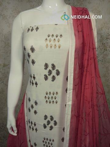 Half White Cotton unstitched Salwar material(requires lining) with golden prints, pink cotton bottom,Embroidery work on pink chiffon dupatta with tapings