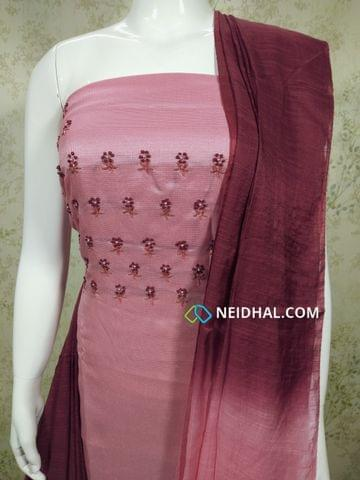 Designer Pink Accord(Super net) unstitched Salwar material(requires lining) with  bead and thread work, drum dyed cotton bottom, Dual color silk dupatta.(requires tapings)