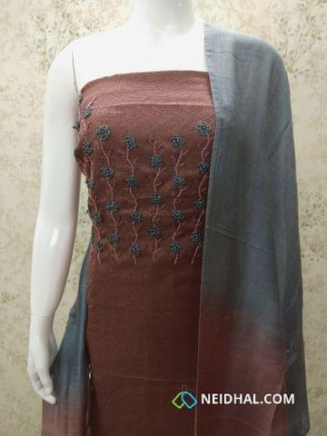 Designer Peony Brown Accord (Super Net) Fabric unstitched salwar material(requires lining) with heavy bead and thread work on yoke, Grey cotton bottom, Dual color silk cotton dupatta.(requires taping)