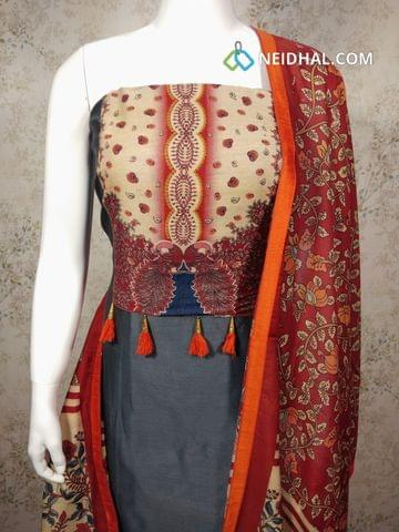 Grey Silk Cotton unstitched salwar material with digital printed on yoke,  maroon cotton bottom, digital printed  fancy dupatta with tapings.