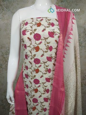 Floral Printed Cream  Cotton unstitched salwar material(requires lining), pink cotton bottom, printed cotton dupatta,(requires taping)