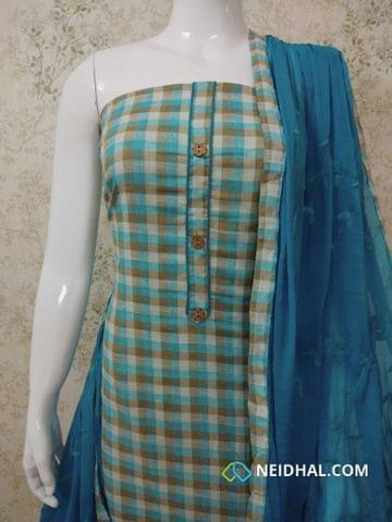 Printed Checked Blue cotton unstitched salwar material with wodden buttons on yoke, blue cotton bottom, Embroidery work on blue chiffon dupatta with taping