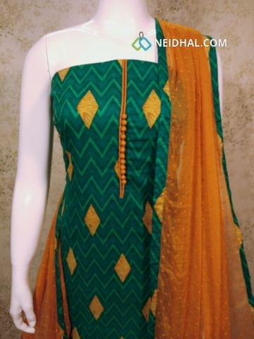 Printed GreenSatin Cotton unstitched Salwar material with potli buttons on yoke, Fenu greek yellow cotton bottom, Thread work on fenu greek yellow chiffon dupatta with tapings
