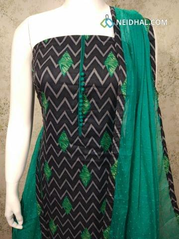 Printed Grey Satin Cotton unstitched Salwar material with potli buttons on yoke, green cotton bottom, Thread work on green chiffon dupatta with tapings