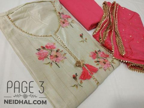 PAGE 3: Designer Floral Printed Light Beige Masleen unstitched Salwar material(requires lining) with fancy tassels on yoke, plain back side, Drum dyed cotton bottom, Golden dew drops on short width chiffon dupatta with fancy tapings.