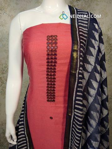 Premium Dark Peachish Pink Dupion silk Unstitched salwar material withreal mirror, bead work on yoke, batik printed navy blue cotton bottom, Batik Printed navy blue cotton dupatta with tassels..