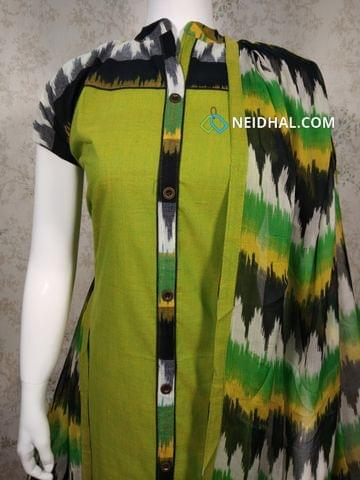 Green Cotton Unstitched salwar material with neck patten, black cotton bottom, printed printed chiffon dupatta with tapings.