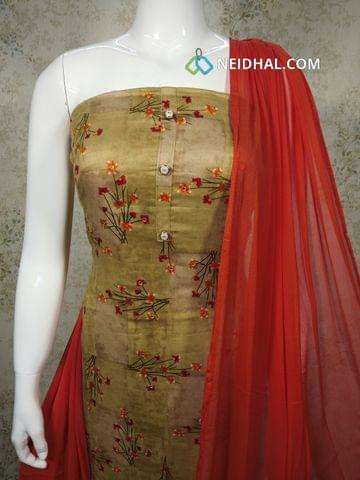Printed Beige Satin Cotton Unstitched salwar material with folil mirror work on front side, orange cotton bottom, orange chiffon dupatta with tapings.