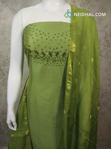 Designer Green Silk Cotton unstitched Salwar material with foil mirror and thread  work on yoke, green silk cotton bottom, zari thread weaving silk cotton dupatta.(requires tapings)
