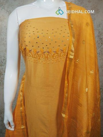 Designer Yellow Silk Cotton unstitched Salwar material with foil mirror and thread  work on yoke, yellow silk cotton bottom, zari thread weaving silk cotton dupatta.(requires tapings)