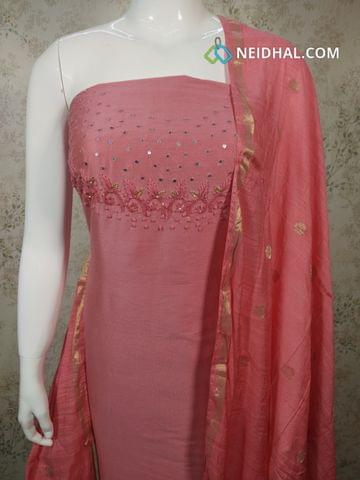 Designer Pink Silk Cotton unstitched Salwar material with foil mirror and thread  work on yoke, pink silk cotton bottom, zari thread weaving silk cotton dupatta.(requires tapings)