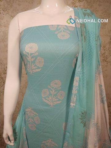 Printed Light Blue Cotton Unstitched salwar material with thread work on front side, printed cotton bottom,  printed blue chiffon dupatta with tapings.
