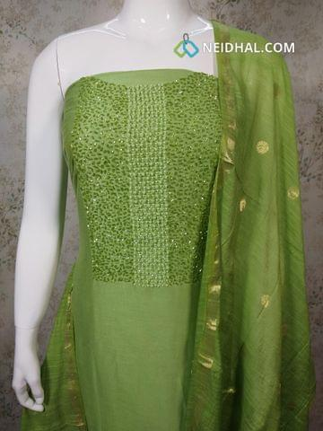 Designer Green Silk Cotton unstitched Salwar material with pipe and bead work on yoke, Green silk cotton bottom, zari thread weaving silk cotton dupatta.(requires tapings)