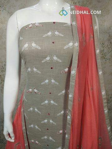 Bird Printed Grey Slub Cotton Unstitched salwar material with foil mirror and sequence work on front side,  pink cotton bottom, pink chiffon dupatta with tapings.