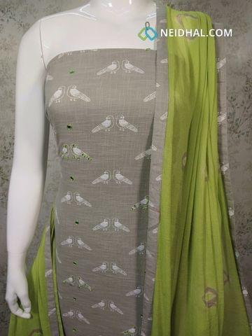 Bird Printed Grey Slub Cotton Unstitched salwar material with foil mirror and sequence work on front side,  green cotton bottom, green chiffon dupatta with tapings.