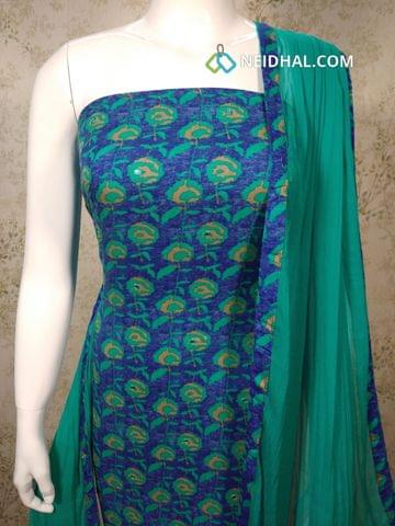 Printed Blue Rayon Unstitched salwar material(requires lining) with foil mirror work, turquoise blue cotton bottom, Turquoise blue chiffon dupatta with tapings.