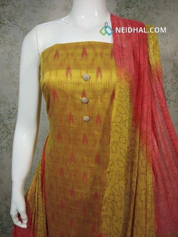 Ikkat printed Yellow Silk Cotton unstitched Salwar material with fancy buttons on yoke, pink cotton bottom, printed dual color chiffon dupatta with tapings.